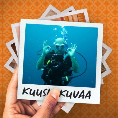 Mies sukellusvarusteissa veden alla näyttää kameralle molemmilla käsillään ok-merkkiä.