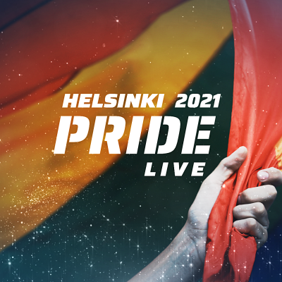 Käsi pitelee sateenkaarilippua - kuvassa teksti Helsinki Pride 2021 Live