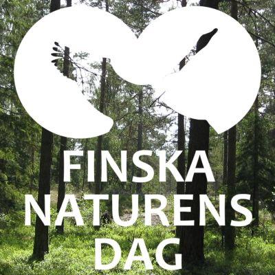 """En bild av skog med texten """"Finska naturens dag"""""""