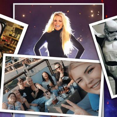 Poptähti Britney Spears ja erillisiä kuvia Nina Kilpiön järjestämistä kotibileistä.