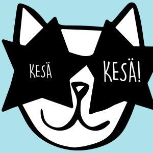 Piirretyn kissan silmillä on tähtiaurinkolasit, joiden linsseissä lukee kesä.