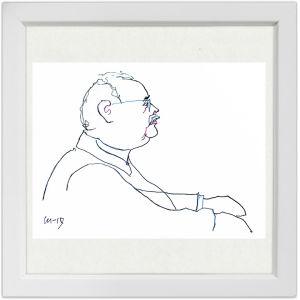 Lassi Rajamaan piirros säveltäjä ja pianisti Oskar Merikannosta.