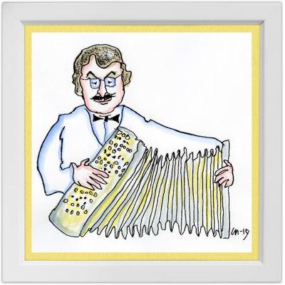 Lassi Rajamaan piirros harmonikkataiteilija Matti Rantasesta.