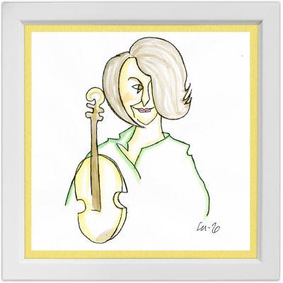 Lassi Rajamaan piirros viulisti Réka Szilvaysta.