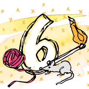 Graafisessa kuvassa numero 6, lankakerä, hiiri ja palava tulitikku.