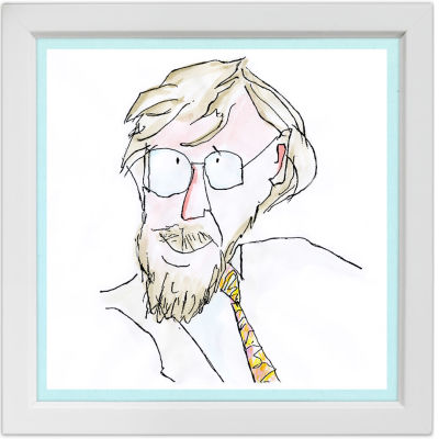 Lassi Rajamaan piirros säveltäjä Paavo Heinisestä.