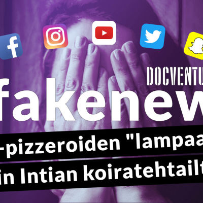 Fakenews-otsikko ja somekanavia