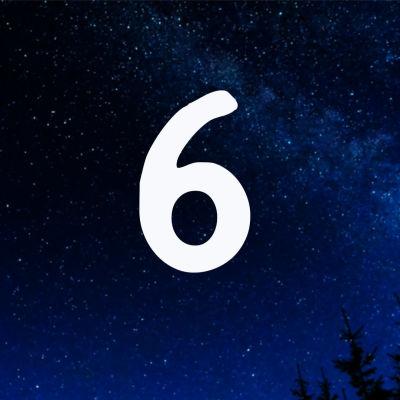Kuvituskuva. Tähtitaivas ja joulukalenterin luukku nro 6.