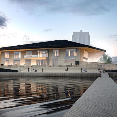 Tältä Jyväskylän satamankärjen saunan on tarkoitus näyttää.