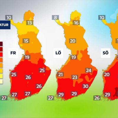 Tre kartor över Finland. Temperaturen anges med siffror och med färger från rött till  gult.
