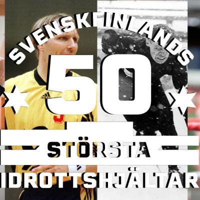 Svenskfinlands 50 största idrottshjältar-bild med Mikael Källman, Marcus Grönholm, Eva Wahlström och Clas Thunberg.