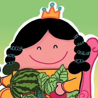 Pieni piirrosprinsessa sylissään vihanneksia.