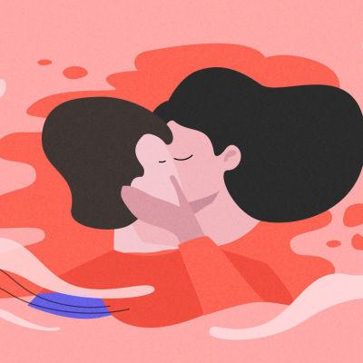 Kuvitetussa kuvassa kaksi ihmistä suutelevat toisiaann.