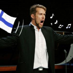 Tuunattu kuva Waltteri Torikasta laulamassa. Toisessa kädessä on Suomen lippu.