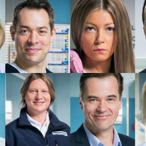 Kuvassa on 8 eri roolihenkilöä sarjasta Syke.
