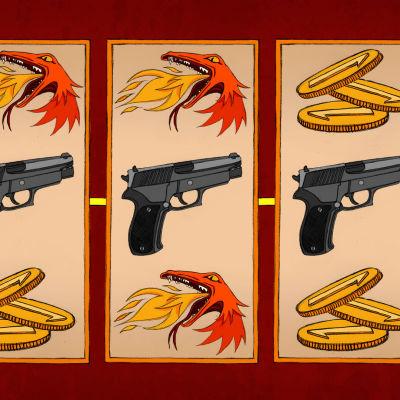 Kuvituskuva, jossa hedelmäpelin näytöllä näkyy kolme asetta.