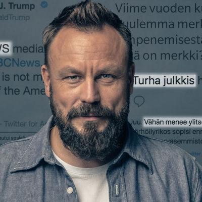 Riku Rantala internet-tekstien edessä.