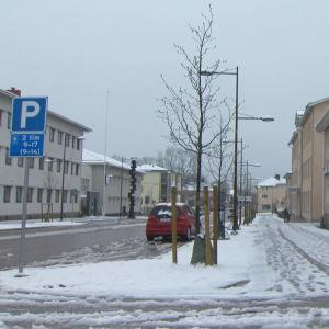Snöfall i Mariehamn andra maj 2019.