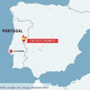 Portugals karta som visar var skogsbränderna härjar i Castelo Branco.