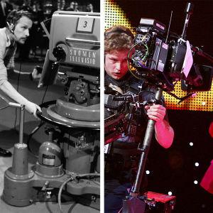 Kollaasikuvassa kuva suomalaiskuvaajista kuvaamassa Euroviisukarsintoja vuonna 1963 ja Suomen Euroviisuissa vuonna 2007.