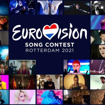 Kollage med bilder på alla deltagare in Eurovisionen 2021