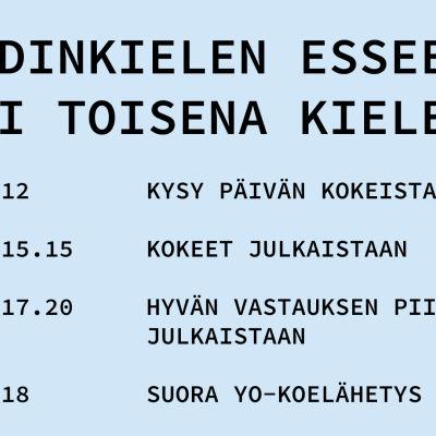 Kuvassa on päivän aikataulu