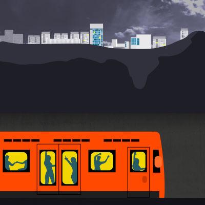 Grafik som visar bild på västmetrotåg