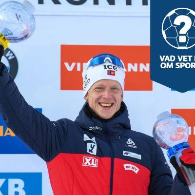 Johannes Thingnes Bö firar med sina pokaler.