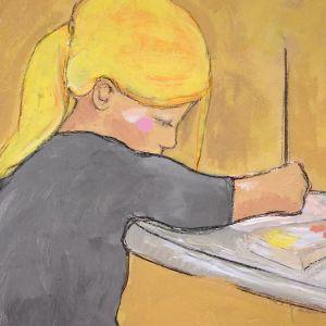 Närbild av målning på målande flicka.