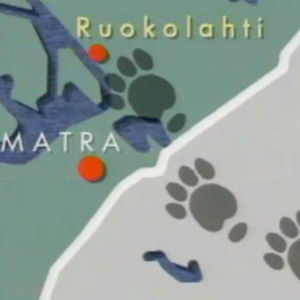 Leijonapiirros ja kartta Ruokolahden–Imatran alueesta, jolla tassunjälkiä (montaasi).