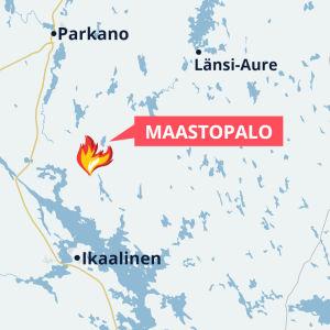 Grafiikkakartta Ikaalisen maastopalopaikasta