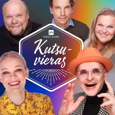 Kutsuvieraat-sarjan henkilöitä Anna Puu, Hannu-Pekka Björkman, Juha Itkonen, Jorma Uotinen ja Raakel Lignell