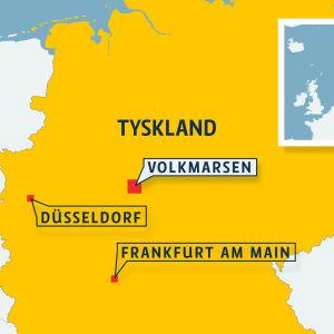 Tysklands karta. Frankfurt, Düsseldorf och Volkmarsen är utmarkerade.