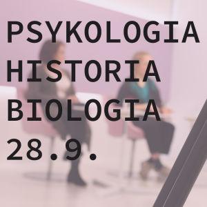 Kuvassa lukee: psykologia, historia, biologia 28.9. yo-koelähetykset syksy 2018. Tekstin taustalla näkymä yo-koelähetysten studiosta.