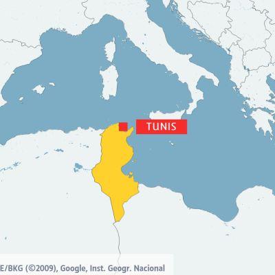 Karta över Tunisien