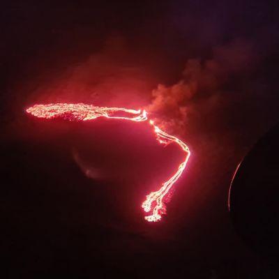 Vulkanutbrott i närheten av Fagradalsfjall, Island.