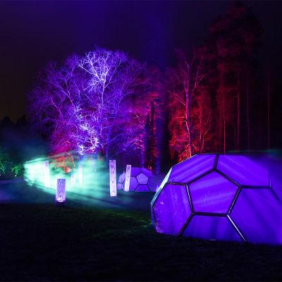 Antti Kulmalan teos Dimension X Joensuussa Botanian puutarhassa Visual Festivalilla.