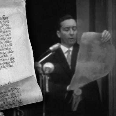 Maistraatin sihteeri, varatuomari Eero Soikkanen lukee joulurauhan julistusta Brinkkalan talon parvekkeella 1962.