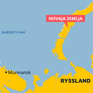 Karta som visar Novaja Zemlja och Barents hav.