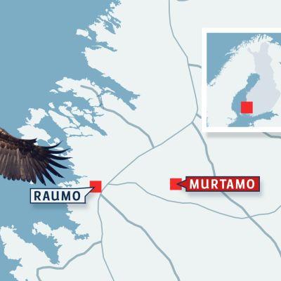 Karta som visar Raumo och Murtamo