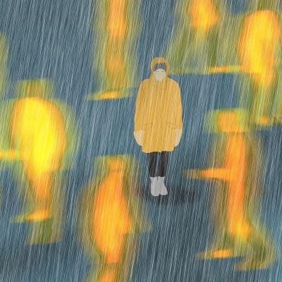 Illustration av en person som rör sig bland folk men alla är suddiga.