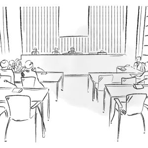 Piirros oikeuden istunnosta