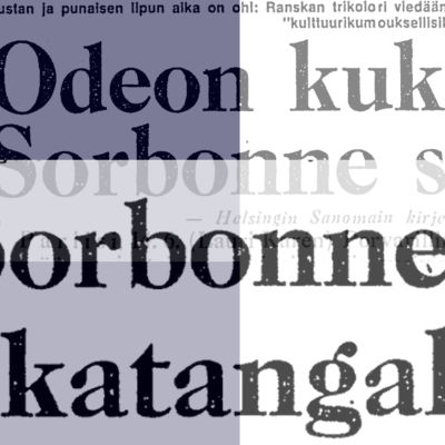 Helsingin Sanomien otsikoita kesäkuulta 1968, taustalla Ranskan lipun värit.