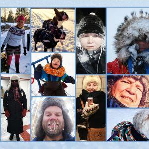 Talvivaatteissa olevia ihmisiä