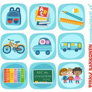 Pikku Kakkosen kommunikaatiokortti, kuva-aihe koulu