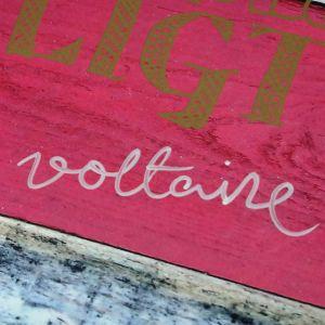 Närbild på handtextat namn: Voltaire.