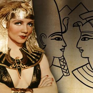 Valokuva Kleopatrasta vuoden 1934 elokuvasta. Taustalla piirros Hatsepsut-faaraosta ja Kuningatar Kleopatrasta.