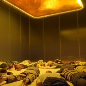 Människor ligger på golvet och återupplever sina minnen med hjälp av Mima.