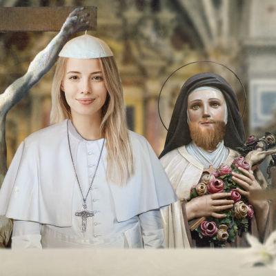 Kuvassa keskellä naispaavi, vasemmalla naisenrintainen Jeesus ja oikealla parrakas naispyhimys.