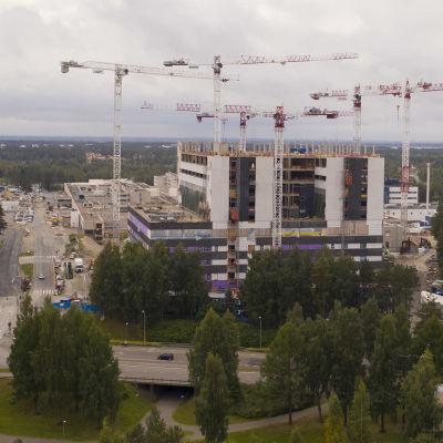 Oulun sairaalan rakennustyömaa